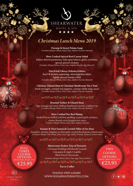 christmas lunch menu offering price